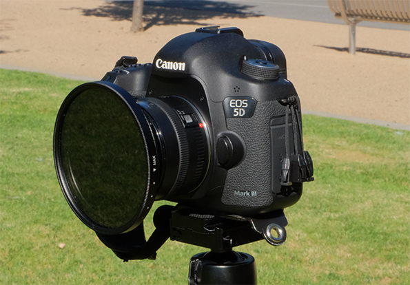 Tiffen 82mm Variable ND Filter attached to a Canon 5D Mark III DSLR camera