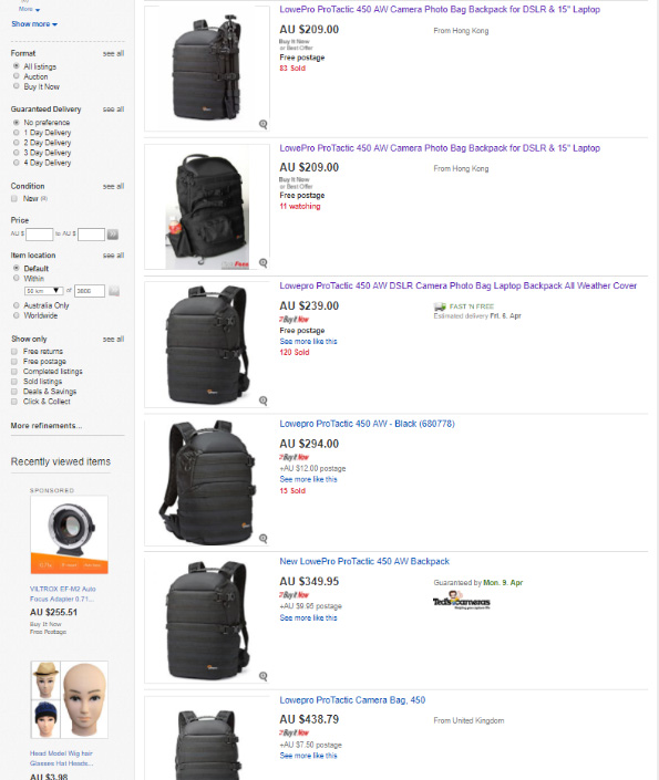 Ebay Lowepro Protactic 450 AW Backpack Ads